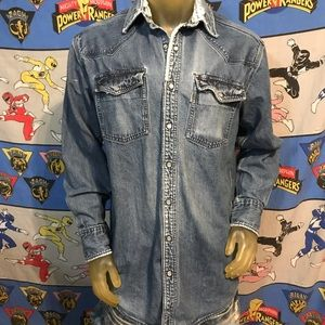 Vintage Distressed Denim Jean Carhartt Pearl Snap